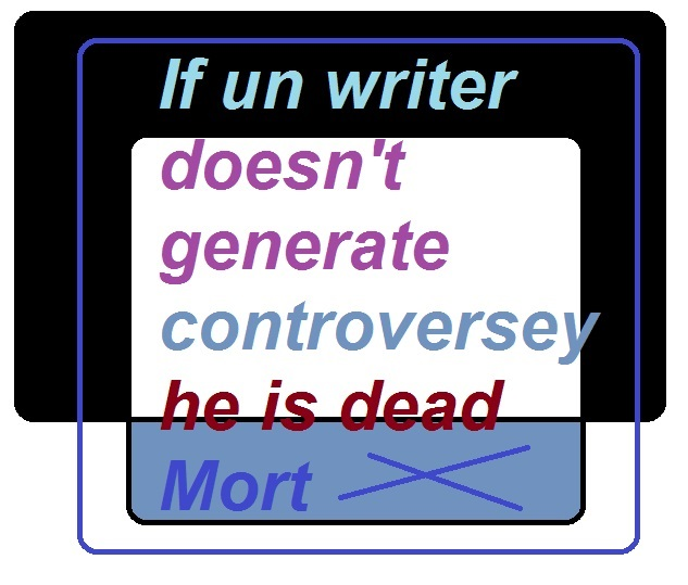 If un writer doesnt generate controversey he is dead mort