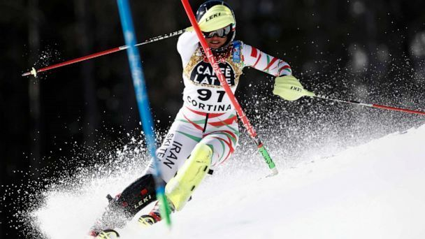 Iran s Marjan Kalhor competes during a womens slalom at the alpine ski World Championships in Cortina d Ampezzo