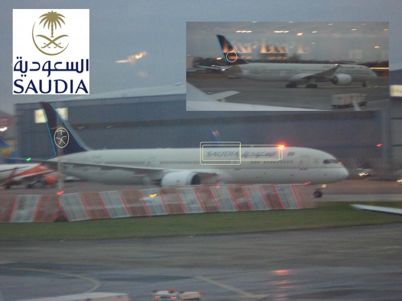 Saudi Airlines manchester front rear
