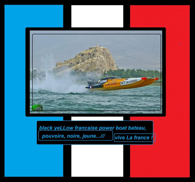 black yeLLow francaise power boat bateau 8