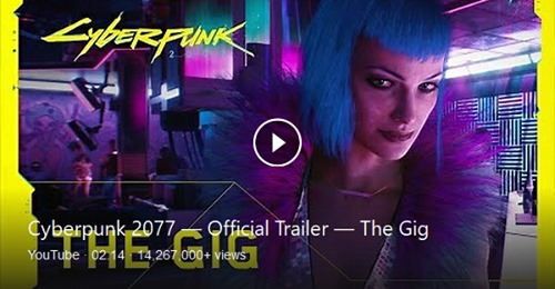 cyber punk 2077 officiaL traiLer the gig