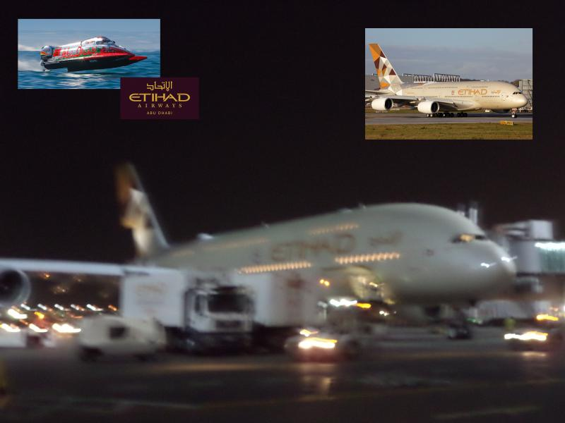 etihad A380 night power boat